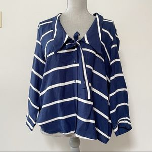 Zara striped blouse with vintage look collar